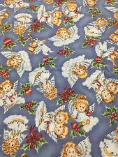 Christmas Angels And Holly Blue Background Quilt Sew OOP 1 Yard