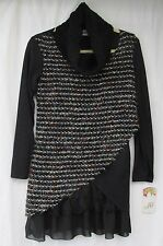 LADIES MADE IN ITALY BLACK MIX LONG JUMPER TWO PART SET ONE SIZE