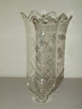 Antique Victorian Hand Blown Etched Flower Petal Top Glass Hurricane Shade Globe