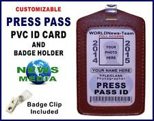 PRESS PASS ID Badge + Card Holder -   CUSTOMIZABLE W/ Your Photo & Info   PVC ID