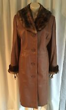 1960s 1970s Vintage Style REAL LEATHER Trench Coat Jacket Mod 70's Dress Mack