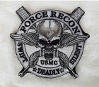 """FORCE RECON .USMC MILITARY MARINE """"SWIFT """"DEADLY"""" SILENT """"Skull Velcro Patch"""
