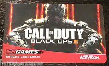 EB Games / Gamestop CANADA Call Of Duty Black Ops III collectible Gift Card(NCV)