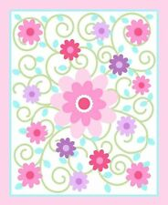 """Dilly Dally Nursery Swirlicious Pink 100% cotton 43"""" Fabric by the panel"""