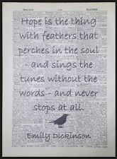 Emily Dickinson Quote Vintage Dictionary Page Art Print Picture Hope Feathers