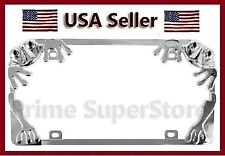 1 New Chrome Metal Frog License Plate Frame Car auto Or Truck Steel Tag Holder I