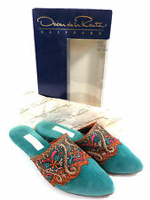 Oscar De La Renta Green Gypsy Mule Slippers Sz 7 7.5 Embroidered Persian In Box