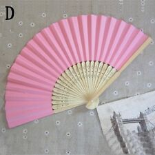 """New Chinese Folding Hand Held Paper Fan Wedding Party Dance Decor 8.3"""" Pink"""
