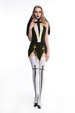 Women Halloween Parties Role Playing Black Nuns Costumes Cosplay Uniform Dresses