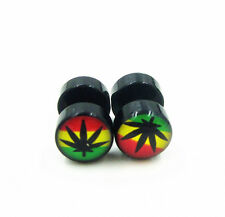 Marijuana Weed Leaf Barbell Stainless Steel Ear Plug Stud Earrings Screw Back