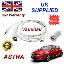 Vauxhall Astra Micro USB Audio Cable For Samsung Galaxy etc & 1.0A Power Adapter