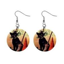 """Halloween Black Cat Witch Broom Hat 1"""" Round Button Earrings Fish Hook"""