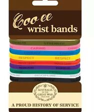 Great War COO-EE 9 Coloured  Rubber  Wrist Bands 9 Pack