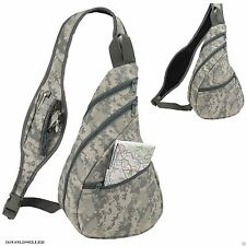 Digital Camo Army Military Sling Backpack Bags ACU Camouflage Single Strap 9""