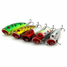 Lot of 5PCS Topwater Popper Minnow Freshwater Fishing Lures Bass Bait Tackle