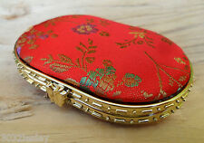 Embroidered Satin Brocade Red/Gold/Floral Oval 2 Mirror Compact NEW