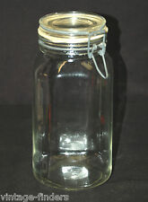 Old Vintage Ermetico Clear Glass Jar w Wire Hinged Lid Storage Container ~ Italy