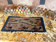 Sampler Rug Hand Knotted Rug Antique Blocks Art Deco Folk Art Sampler Christmas