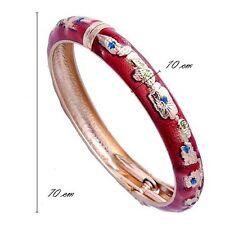 vintage red enamel bangle bracelet 14k solid Gold Plated womens charm bracelet