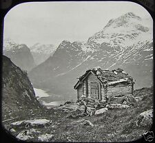 Glass Magic Lantern Slide NORDFJORD OLDENDAL BRYNESTAD SAETER C1888 PHOTO NORWAY