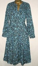 New Monsoon 70s Vintage Boho Navy Blue Teal White Floral Dress Size 22