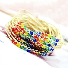 Hand Knitted 2Pc Women Woven Lucky Raffia Bracelet Anklets Friendship Colorful