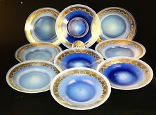 8 Vintage Late 1800's Murano Salviati Opalescent Art Glass Plates Shallow Bowls