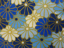 Oriental Fabric Fat Quarter Cotton Quilting Craft ASIAN FLORAL BLUE