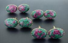 Ruby in Fuchsite Oval Cufflinks 25x18 MM With Scalloped Edges PRETTY!