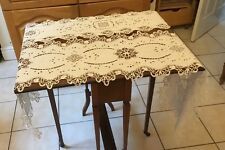 VINTAGE WHITE LINEN AND CROCHET LACE TABLE RUNNERS X 2 WHITEWEAR
