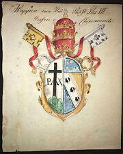 Handgemaltes Wappen PAPST PIUS VII., GRAF VON CHIARAMONTI, um 1800, koloriert