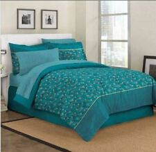 NEW KING EXOTIC TEAL BLUE PEACOCK FEATHERS COMFORTER SHEETS SKIRT BEDDING SET