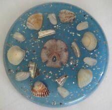 "Vintage Lucite Resin Trivet Hotpad Ocean Blue with Seashells 6.5"" Round Classic"
