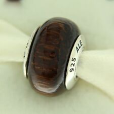 Authentic Pandora 790701 Acapu Dark Wood Retired Sterling Silver Bead Charm