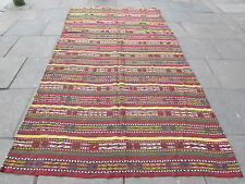 Old Tribal Nomadic Hand Made Ouzbak Oriental Red Wool Jajim Kilim 340x182cm