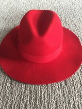 NWOT Free People Lack Of Color Red Wool Hat 56 Cm Ribbon