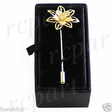 New in box Men's Suit brooch chest metal flower shape gold lapel pin