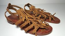 $120 size 8 Sam Edelman Estelle Fringe Flat Saddle Suede Gladiator Sandals Shoes