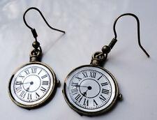 Antico Bronzo Stile Orecchini Orologio Tasca Steampunk ALICE VINTAGE tema CLOCK