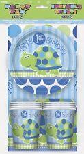 En primer lugar (1ST) de cumpleaños (Boy) Turtle Party Pack Para 8 (Platos Vasos Servilletas Mantel)