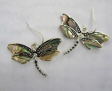Silver Plated Dragonfly Dangle Pierced Earrings Abalone Shell Inlay  # 042 New