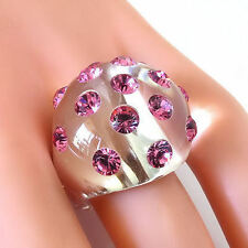 New Clear Acrylic Domed Ring Pink Swarovski Elements Crystal On Dome Size 5.5