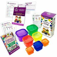 Healthy Living 7 Piece Portion Control Containers Kit (J00PORT7) Color-coded NEW