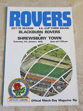 The Official Match Day - Magazine Of Blackburn Rovers & Shrewsbury Town 1978