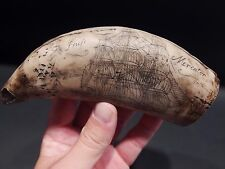Nice Antique Style Folk Art 2 Sided Mercator Ship Scrimshaw Etched Resin Tooth
