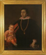 Northern Italian School 17C Portrait of a Nobleman & Son Oil on Canvas Inscribed