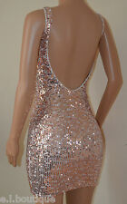 VICKY MARTIN copper gold sequin backless low back mini party dress 14 16 BNWT