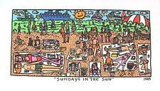 Farblithographie James Rizzi 1995 : 2D Sundays in the sun