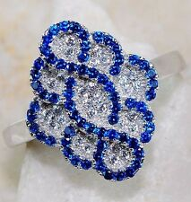 2CT Blue Sapphire & White Topaz 925 Solid Genuine Sterling Silver Ring Sz 9