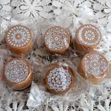 6 Assorted Floral Vintage Style Medallion Round Shape Wood Rubber Stamps Craft